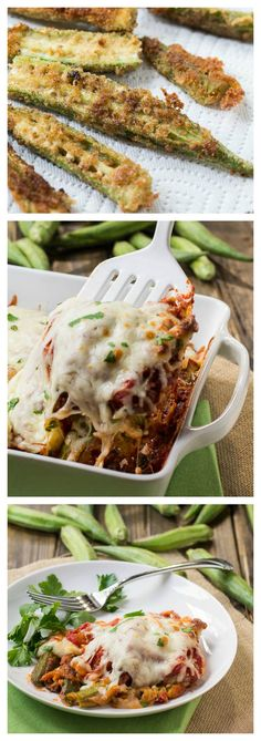 A delicious southern take on Eggplant Parmigiana using fresh summer okra instead of eggplant. Okra never tasted so good. Okra Recipes, Vegetable Recipes, Vegetarian Recipes, Cooking Recipes, Healthy Recipes, Vegetarian Cooking, Easy Cooking, Cooking Okra, Hallumi Recipes