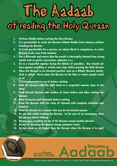 The Aadaab of reading the Holy Quraan~ Islamic Manners
