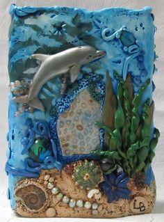 Hand sculpted Polymer Clay Vase Dolphin Ocean Theme #HAFshop #HAS #handmade