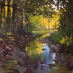 """This is stunning and exactly what I love to paint myself! Look at all Jan's work ... this one is """"Quiet Creek""""  Giclee PRINT matted 12x12  by Jan by gallery28, $32.00 (on Etsy)"""