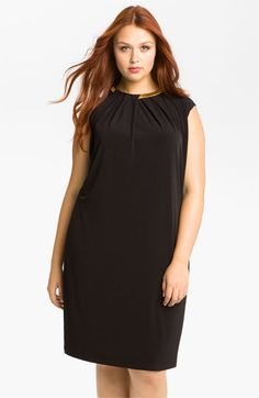 Calvin Klein Chain Neck Jersey Shift Dress (Plus) available at #Nordstrom