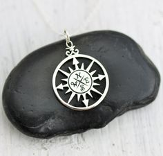 Compass Necklace - Sterling Silver Compass Rose Necklace - Compass Pendant - Graduation Gift - Nautical Necklace - Journey Necklace - Travel by TNineandCompany on Etsy Compass Jewelry, Compass Necklace, Men Necklace, Rose Necklace, Nautical Necklace, Linen Bag, Travel Jewelry, Initial Charm, Graduation Gifts