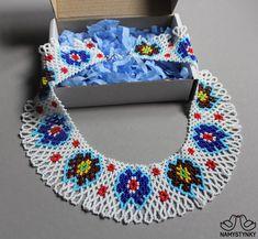 Ukrainian traditional necklace White Beaded necklace Collar | Etsy Seed Bead Necklace, Boho Necklace, Collar Necklace, Fashion Necklace, Crochet Necklace, Necklaces, Blue Earrings, Beaded Earrings, Beaded Jewelry