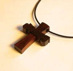 Wood Cross Pendant with Cord ~ JESUS in Rosewood by DustyNewt on Etsy