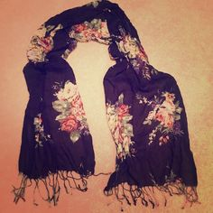 Navy blue scarf Navy blue with floral print scarf Accessories Scarves & Wraps