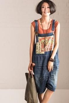 f3a1b21a8b7 Patch Art Big Size Overalls. Overalls FashionDenim FashionJean OverallsLoose  PantsTrousers ...