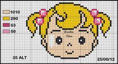 Cantinho feito com muito carinho para os amantes de artesanato, assim como eu. Aqui você irá encontrar meus trabalhos em Ponto cruz, pintura em tecido, Crochê, ponto capitonê, entre outros e claro gráficos para copiar e usar a vontade. Um super abraço e sejas bem-vindo! Cross Stitch Baby, Cross Stitch Charts, Cross Stitch Patterns, Embroidery Patterns, Crochet Patterns, Pixel Art, Plastic Canvas, Kids Rugs, Knitting