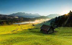 Télécharger fonds d'écran Alpes, les montagnes, le matin, le lac, la cabane, le lever du soleil