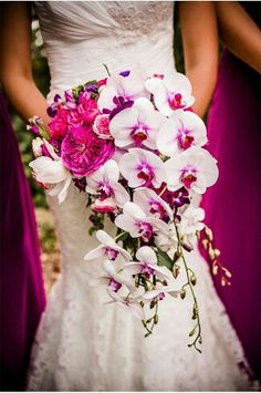 {Exquisite Cascading Bouquet Featuring: Fuchsia English Garden Roses, Magenta Peonies, Purple Calla Lilies, Pastel Pink/Hot Pink Roses, & White/Fuchsia Phalaenopsis Orchids························}