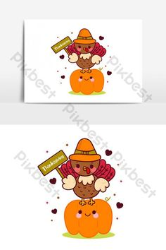 Cute Turkey thanksgiving cartoon with pumpkin (Illustration),Kawaii animal vector | PNG Images AI Free Download - Pikbest