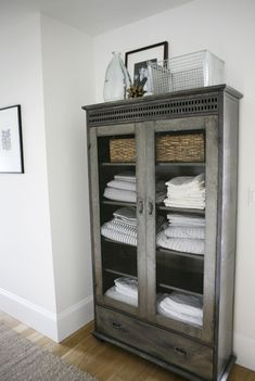 Gorgeous bathroom linen cabinet from a modern farmhouse by Design + Build . Gorgeous bathroom linen cabinet from a modern farmhouse by Design + Build . Perfect color and size . Not too deep . Decor, Furniture, Interior, Painted Furniture, Home Decor, House Interior, Bathroom Linen Cabinet, Farmhouse Cabinets, Furnishings