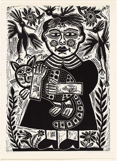 AUSTRALIAN PRINTS Barbara HANRAHAN 1939 Adelaide, South Australia, Australia – 1991 England 1963-64 England 1965-73 VICTORIAN PRINT WORKSHOP commenced 1981 Melbourne, Victoria, Australia – 1988 print workshop (organisation) Girl with a cat 1988 relief linocut, printed in black ink, from one block Impression: 2/35 Edition: edition of 35 printed image 70.8 h x 50.8 w cm Gift of Jo Steele 1992 Accession No: NGA 92.343