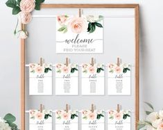 Seating Chart Template Editable Wedding Seating Chart | Etsy Rustic Seating Charts, Table Seating Chart, Seating Chart Wedding Template, Seating Cards, Invitation Set, Digital Invitations, Gift Table Signs, Bridal Bingo, Wedding Seating