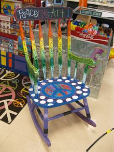 Jez4U PEACE OUT Handpainted Teacher Reading Rocking Chair  ---Chalkboard paint on top Write your own saying---Ready to SHIP