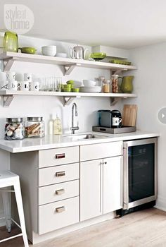 Image result for amazing kitchenette basement floating shelves