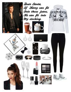 """All I Want For Christmas Is Harry Styles"" by jenny-1d-swagg ❤ liked on Polyvore featuring J Brand, Costa, Henri Bendel, By Lassen, Disney, Jones New York, H&M, Mulberry, Chan Luu and Allurez"