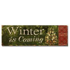 """Furnistar Decorative Christmas Wood Wall Sign Plaque """"Winter is Coming"""" with Christmas. Add a splash of color and style to the living room bedroom or kitchen;This wall sign announces the coming of a chilly season with the words Winter is coming in white lettering. A detail of an ornately decorated Christmas tree a silhouette of Santa and his reindeer and a side border of geometric red and black designs complete the plaque. This piece makes a statement on any wall and a great seasonal wedding…"""