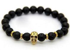 Golden Skull Lava Stone Bracelet - DecorusCPH