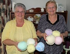 Beanies and cardigans are out the window for a pair of knitting grannies who have turned their attention to boobs.