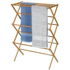 Household Essentials Folding Clothes Drying Rack, Bamboo Household Essentials http://smile.amazon.com/dp/B003VYAGOC/ref=cm_sw_r_pi_dp_AsH.ub1ZR1GVW