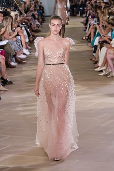 Illusion blush gown with sparkles // Monique Lhuillier 2017 Spring Ready-to-Wear collection at New York Fashion Week