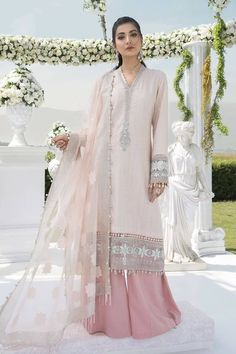 Pakistani Designer Suits, Pakistani Dresses Online, Pakistani Dress Design, Maria B Party Wear, Pakistani Salwar Kameez, Anarkali Suits, Kurti, Pastel Party, Satin Trousers