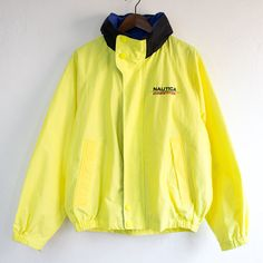 Vintage 90's Nautica Competition Highlighter/Neon Yellow Tuck Away Hoody Sailing Jacket - (Large)