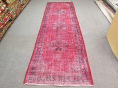 Vintage Oushak Handmade Faded - Love Red Overdyed Runner Rug , Soft Pastel patterned rug 137 x 41 inches No:711