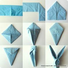 Coniglietti origami - Tovaglioli per la tavola di Pasqua