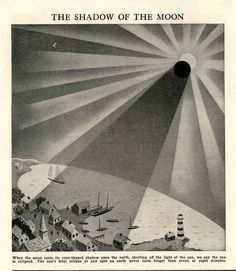 moon shadow vintage celestial print 1954
