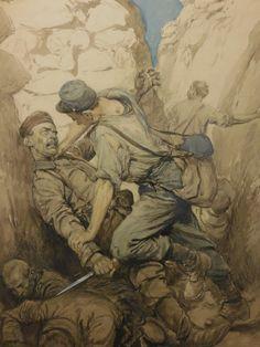 """La plus poignante pièce de l'exposition, du moins l'une d'elles avec cette """"Scène de combat dans une tranchée"""" de Georges Scott en 1915."""