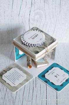Męski exploding box na piątą rocznicę ślubu. Box w kolorze brązowo-turkusowym, przewiązany sznurkiem. ----- Exploding box for husband on wedding anniversary.