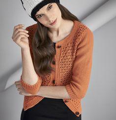 Оранжевая кофта с ажурным узором - схема вязания спицами. Вяжем Кофты на Verena.ru