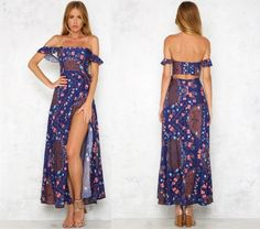 Off-shoulder Blue Beach Maxi Dress with Slit sold by wendyhouse. Shop more products from wendyhouse on Storenvy, the home of independent small businesses all over the world.