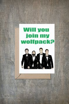 Will You Join My Wolfpack Card. Will You Be My Groomsmen Card. Funny Groomsmen Card. Groomsmen Card. Wedding Card. Groom. Best Man. by CrimsonandCloverGift on Etsy https://www.etsy.com/listing/272963346/will-you-join-my-wolfpack-card-will-you