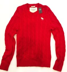 Abercrombie & Fitch L Solid Red Cotton Cashmere Muscle Crewneck Knit Sweather #AbercrombieFitch #Crewneck