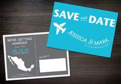 Destination mariage Save-the-Date, les couleurs bleus, gris et personnalisables, imprimable numérique fichier de carte postale, bricolage