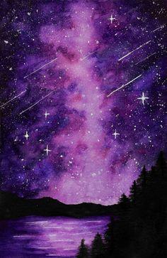 Galaxy Nightsky Mini Art Print by 1 - Without Stand - x Galaxy Painting Acrylic, Watercolor Galaxy, Easy Canvas Painting, Diy Canvas Art, Galaxy Drawings, Night Sky Painting, Silhouette Painting, Galaxy Art, Night Skies