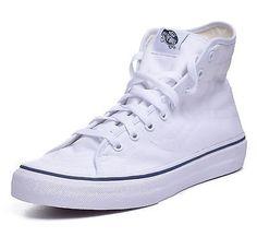 f1c84acf8e2d06 Vans Sk8 Hi Men s Decon White Dress Blue Hi Top Skateboard Shoes High Top  Vans