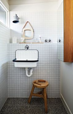 tiles / sink / shelf / stool