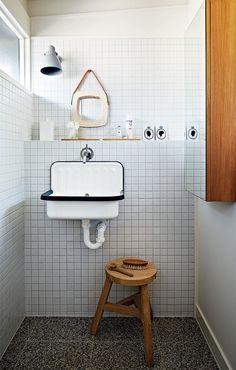 tiles / sink / shelf / stool