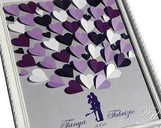 Purple Wedding Guest Book Ideas on the Silver background for wishes - Wedding Guest Book Alternative to traditional guestbook
