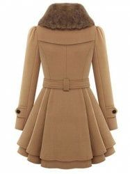 A Line Skirted Coat with Belt - CAMEL XL