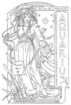 Aquarius for Heather (Pre-Color) by Renée Christine Yates-McElwee Adult Coloring Book Pages, Printable Adult Coloring Pages, Cute Coloring Pages, Coloring Pages To Print, Coloring Books, Zodiac Signs Colors, Digital Drawing, Aquarius, Book Of Shadows