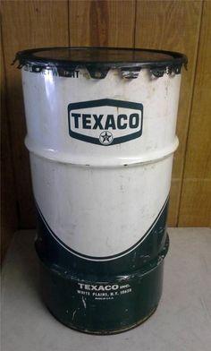 Texaco Green 120 Lb Oil Can Steel Drum Barrel Gas Station W/ Lid Advertising