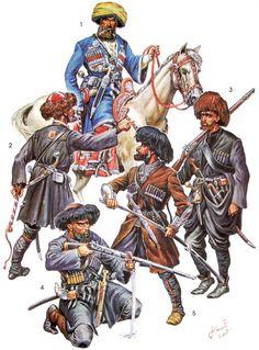 Кавказские воины: 1 - Наиб; 2 - Сотник из черкесов; 3 - пеший горец (абадхез) в походе; 4 - Шапсуг-стрелок; 5 - Кабардинский уорк.