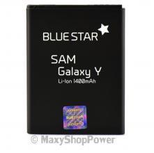 BATTERIA ORIGINALE BLUE STAR 3,7V 1400mAh LI-ION PER SAMSUNG GALAXY Y S5360 NERA BLACK NEW NUOVA IDEA REGALO - SU WWW.MAXYSHOPPOWER.COM