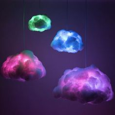 The RGB Cloud lamp is a colorful, remote-controlled luminaire inspired by the original Smart Cloud. Decorative, whimsical, and illuminating, the RGB clouds have all t. Neon Bedroom, Galaxy Bedroom, Room Ideas Bedroom, Cloud Bedroom, Blue Bedrooms, Purple Rooms, Cute Room Decor, Teen Room Decor, Cloud Lights