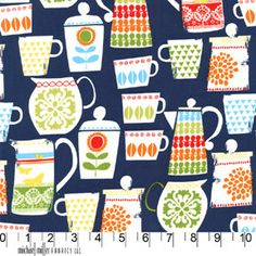 For my kitchen:  Put a Lid on It in Nite from Retro Kitchen by Michael Miller Fabrics.