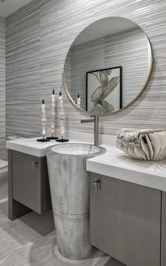 Modern bathroom with a unique blend of metals and stone. Designed by: The Decorators Unlimited. Modern Bathroom Design, Bathroom Interior Design, Modern House Design, Bathroom Niche, Small Bathroom, Asian Bathroom, Bathroom Green, Ikea Bathroom, Boho Bathroom